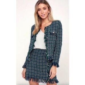 Dresses & Skirts - Plaid tweed fringe 2 piece - jacket & skirt - L
